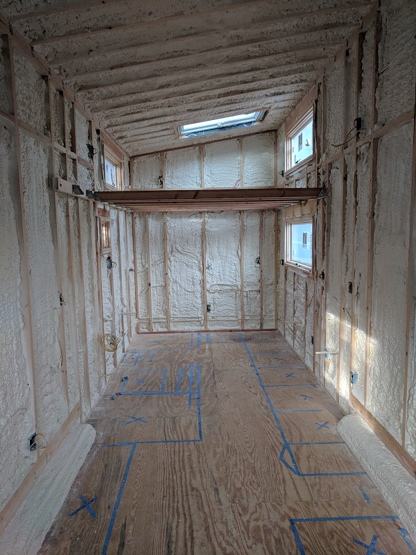 Closed Cell Spray Foam in a Tiny House