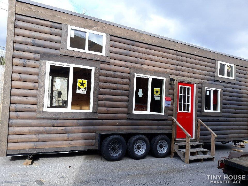 """Real Logs"" Tiny House on New DOT Approved Tandem Trailer 8' x 32', Dual Lofts"
