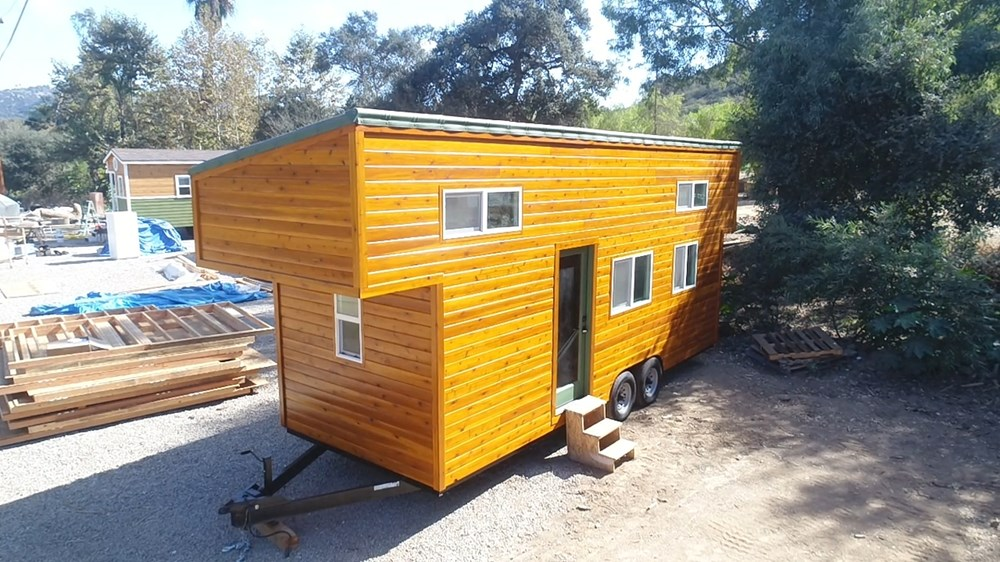 9 x 24 Modern Caravan by Tiny House Cottages professionally built dual lofts washer dryer full kitchen hardwoods composting toilet