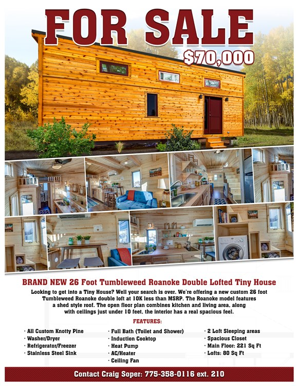 BRAND NEW 26-Foot Tumbleweed Roanoke Double Lofted Tiny House 2
