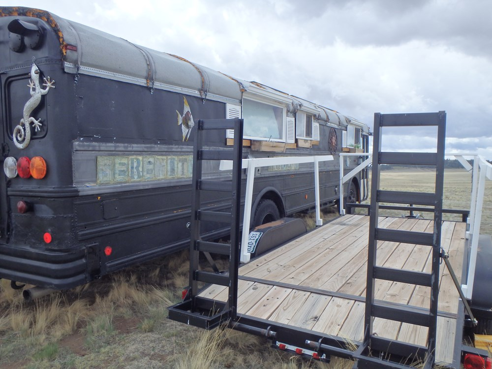 Bus RV Tiny Home plus Car Trailer 9
