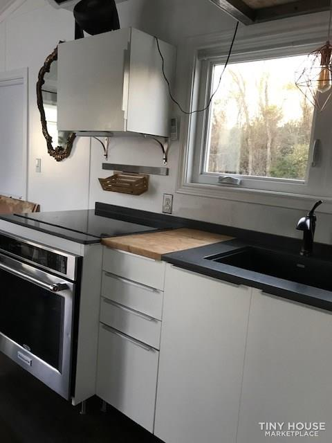 Modern Cabin Styled Tiny House with Goose-neck Trailer  7