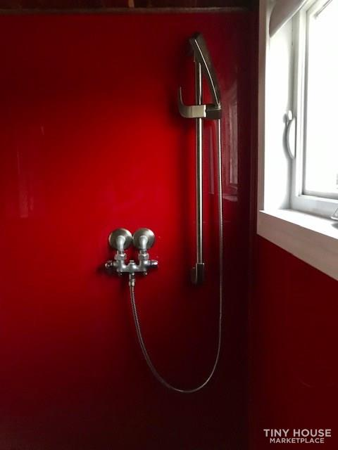 Modern Cabin Styled Tiny House with Goose-neck Trailer  9